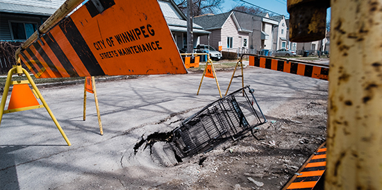 sinkhole on Pacific Avenue