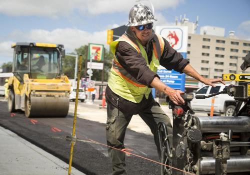 Construction work on Ellice Avenue near Simcoe Street, by Bituminex. (Colin Corneau photo)