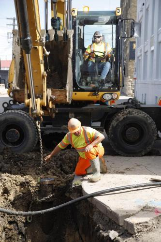 Watermain renewal by Beaver Sewer & Water - Alexander Avenue (Colin Corneau photo)