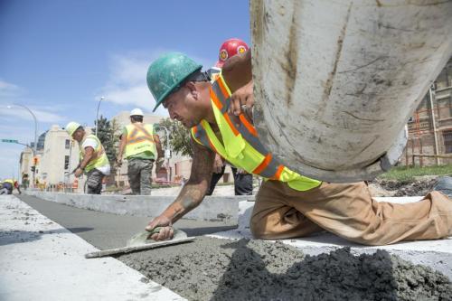 Construction work on Memorial Boulevard near Broadway Avenue by Maple Leaf. (Colin Corneau photo)